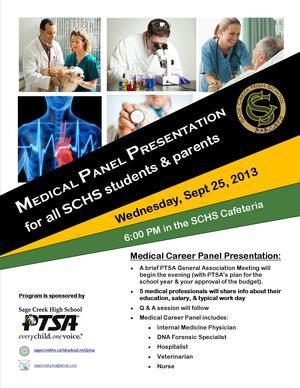SCHS PTSA Medical Panel Presentation 9-25-13