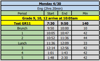 Bell Schedule Mon Tues