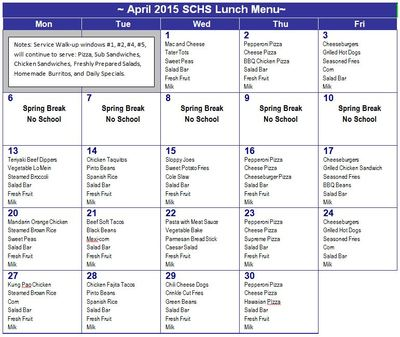 April Lunch Menu 2