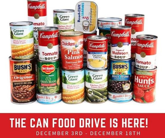 Canned Food Drive Dec 3-18