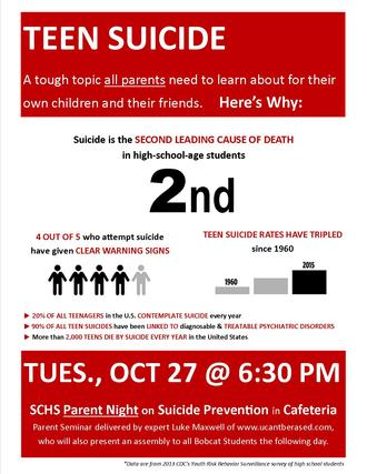 Parent Night on Teen Suicide Prevention is Tues 10/27 at 6:30 PM in Cafeteria